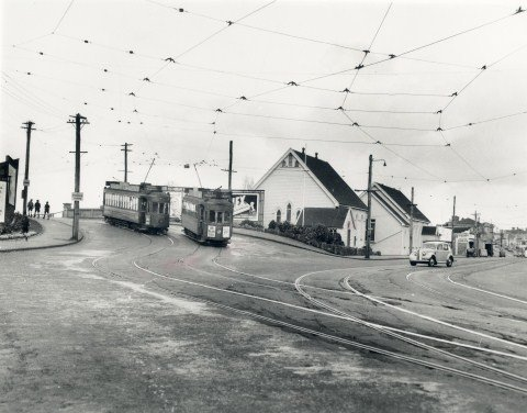 Owairaka tram passing Trinity Church