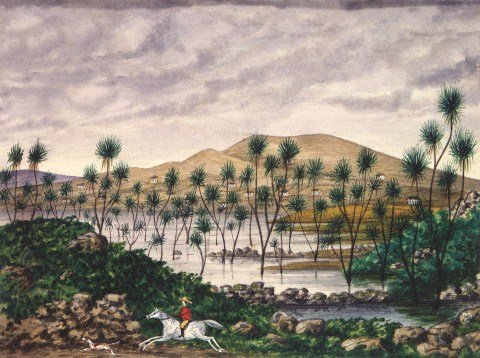 Watercolour cabbage tree swamp C1870